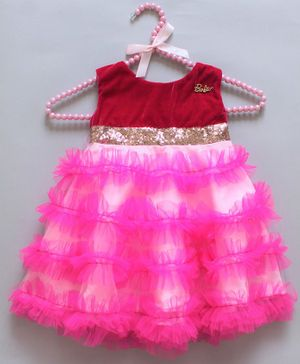 Barbie by Many Frocks & Sleeveless Layered Sequin Belt Detailed Dress - Pink