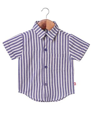Nino Bambino Striped Half Sleeves Shirt - Purple