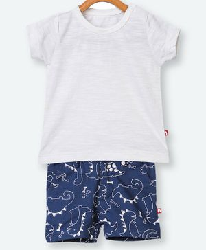 Nino Bambino 100% Organic Cotton Half Sleeves Solid Tee & Dinosaur Printed Shorts - White Blue