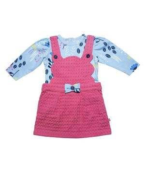 Nino Bambino 100% Organic Cotton Flower Print Full Sleeves Tee With Dungaree Style Dress - Blue & Pink