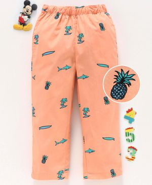 Babyhug Full Length Lounge Pant Multiprint - Peach