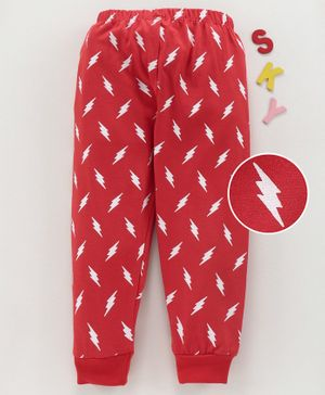 Babyhug Full Length Printed Track Pant - Red
