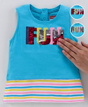 Babyhug Sleeveless Top Sequinned Fun Flip Detailing - Blue