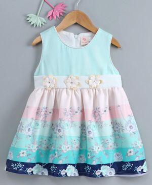 Smile Rabbit Sleeveless Frock Floral Print - Blue