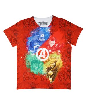 Marvel By Crossroads Half Sleeves Avengers Captain America & Hulk Print Tee - Red