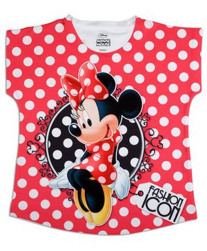 Disney By Crossroads Cap Sleeves Minnie Character Print Top - Red