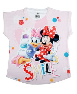Disney By Crossroads Cap Sleeves Minnie Mouse & Daisy Print Top - Light Pink