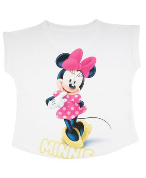 Disney By Crossroads Short Sleeves Minnie Printed Top - White