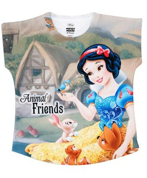Disney By Crossroads Short Sleeves Snow White Princess Printed Top - Multi Colour