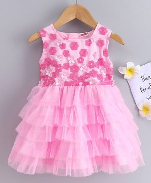 Babyhug Sleeveless Layered Party Wear  Frock Floral Embroidery - Pink