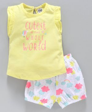 Simply Flutter Sleeves Tee & Shorts Set Floral Print - Yellow White