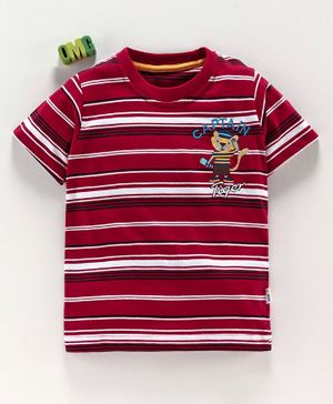 Teddy Half Sleeves Stripe Tee Captain Tiger Embroidery - Red White