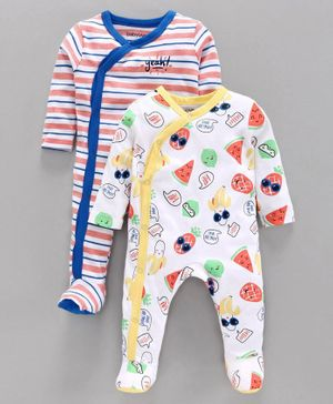 Babyoye Full Sleeves Footed Sleepsuit Pack of 2 - White Blue Yellow