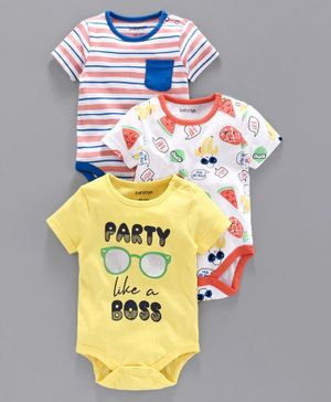 Babyoye Cotton Half Sleeves Onesies Multi Print Pack of 3 - Mulicolor