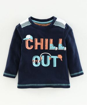 Babyoye Cotton Full Sleeves Tee Chill Out Print - Navy Blue