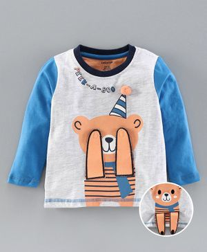 Babyoye Cotton Full Sleeves Tee Bear Design - Blue Light Grey