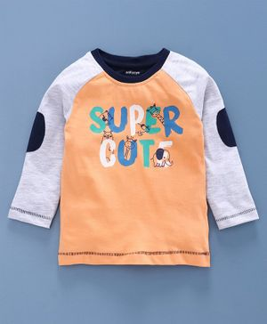 Babyoye Cotton Raglan Sleeves Tee Super Cute Print - Light Grey Orange