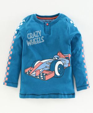 Babyoye Cotton Full Sleeves Henley Tee Crazy Wheel Print - Blue