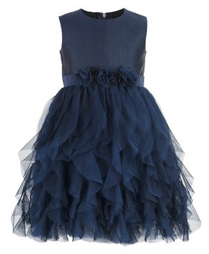 Toy Balloon Flower Decorated Waterfall Tulle Sleeveless Dress - Navy Blue