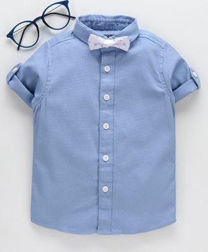 Jash Kids Half Sleeves Party Wear Shirt with Bow - Blue