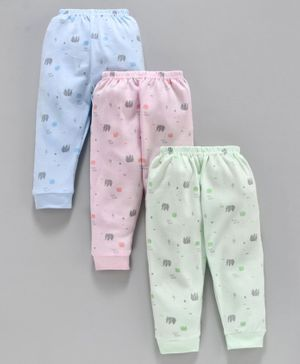 Zero Full Length Lounge Pant Elephant Print Pack of 3 - Blue Pink Green