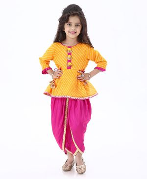 Babyoye Three Fourth Sleeves Cotton Kurti & Dhoti Set - Yellow