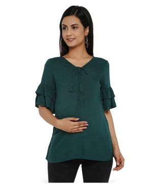 Wobbly Walk Ruffled Half Sleeves Solid Colour Maternity Top - Green