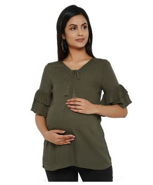 Wobbly Walk Ruffled Half Sleeves Solid Colour Maternity Top - Mehendi Green