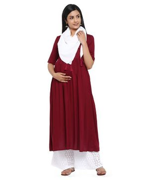Wobbly Walk Half Sleeves Solid Maternity Kurta With Dupatta - Maroon