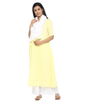 Wobbly Walk Half Sleeves Solid Maternity Kurta With Dupatta - Yellow