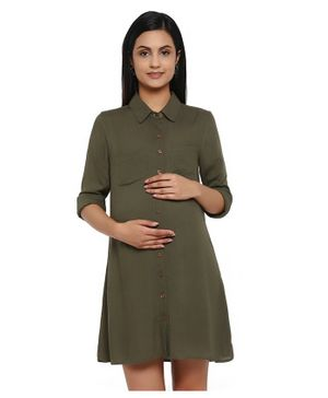 Wobbly Walk Solid Colour Full Sleeves Maternity Shirt Dress - Green