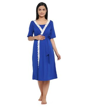 Wobbly Walk Half Sleeves Lace Detailing Wrap Around Style Maternity Nighty - Blue