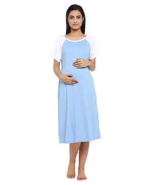 Wobbly Walk Raglan Half Sleeves Solid Maternity Nigty - Light Blue