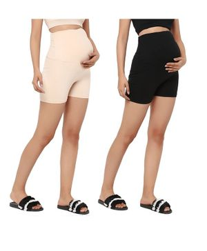 Wobbly Walk Pack of 2 High Waist Solid Colour Maternity Shorts - Beige & Black
