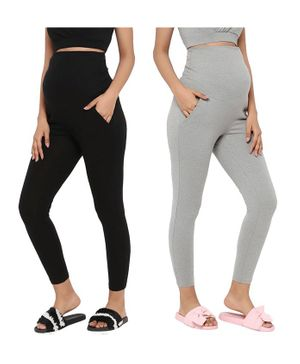 Wobbly Walk Pack of 2 High Waist Solid Colour Full Length Maternity Leggings With Pockets - Grey & Black