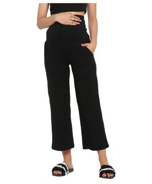 Wobbly Walk Solid Colour High Waist Maternity Bell Bottom Pants - Black