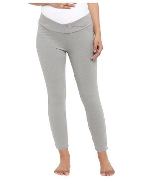 Wobbly Walk Full Length Solid Colour Seamless Maternity Leggings - Light Grey