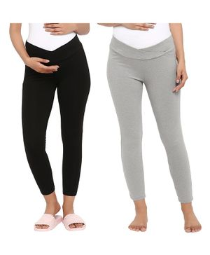 Wobbly Walk Pack Of 2 Full Length Solid Colour Seamless Maternity Leggings - Light Grey & Black