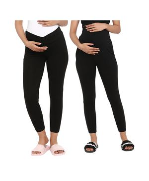 Wobbly Walk Pack Of 2 Full Length Solid Colour Maternity Leggings - Black
