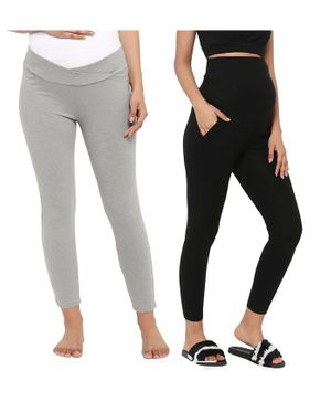 Wobbly Walk Pack Of 2 Full Length Solid Colour High Waist Maternity Leggings - Black & Light Grey