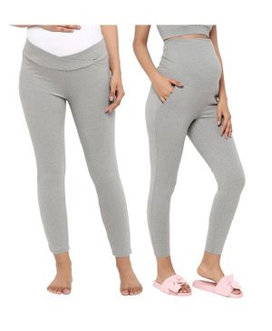 Wobbly Walk Pack Of 2 Full Length Solid Colour High Waist Maternity Leggings - Light Grey