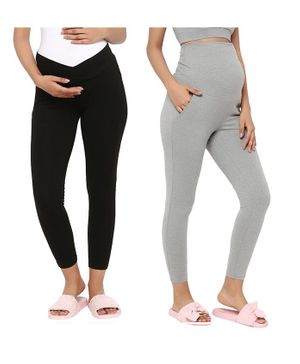 Wobbly Walk Pack Of 2 Full Length Solid Colour High Waist Maternity Leggings - Light Grey & Black