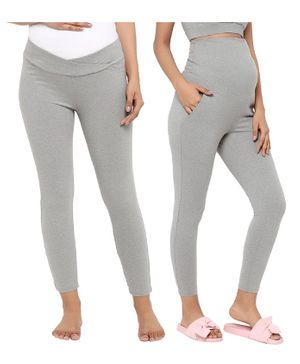 Wobbly Walk Pack of 2 Solid Full Length Over Belly & Under Belly Maternity Leggings - Grey