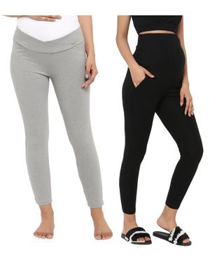 Wobbly Walk Pack of 2 Over Belly & Under Belly Solid Full Length Maternity Leggings - Black & Grey