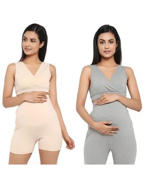 Wobbly Walk Pack of 2 Solid Colour Crossover Maternity Bra - Beige & Grey