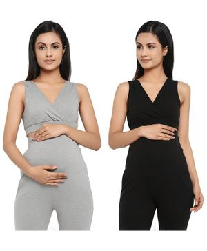 Wobbly Walk Pack of 2 Solid Colour Crossover Maternity Bra - Grey & Black
