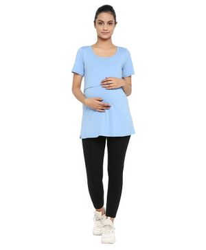 Wobbly Walk Half Sleeves Solid Nursing Maternity Tee & Leggings Set - Light Blue