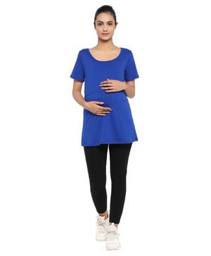 Wobbly Walk Half Sleeves Solid Nursing Maternity Tee & Leggings Set - Blue