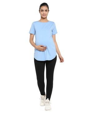 Wobbly Walk Half Sleeves Solid Maternity Tee & Leggings Set - Light Blue
