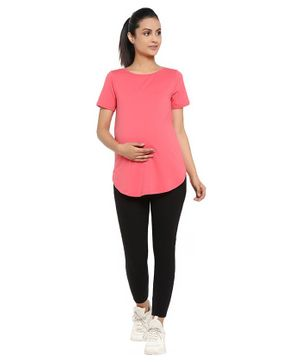 Wobbly Walk Half Sleeves Solid Maternity Tee & Leggings Set - Pink